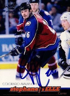 Stephane Yelle Colorado Avalanche Signed 1999-2000 Pacific Card # 116 SL COA . $10.00. Colorado Avalanche CenterStephane YelleHand Signed 1999-2000 Pacific Hockey Card # 116WONDERFUL AUTHENTIC HOCKEY COLLECTIBLE!!! .SIGNATURE IS AUTHENTICATED BY SPORTSLOT AUTHENTICATION,  NUMBERED SL STICKER ON ITEM.SL COA:  # 12674