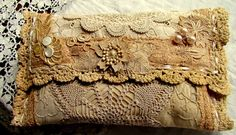 lace and doily clutch purse with the added extras of lace, silk and buttons  Suziqu's Threadworks