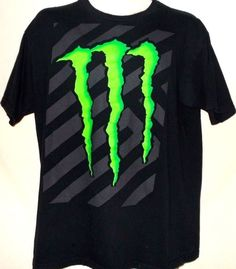 Official MONSTER ENERGY Drink Claw Logo Black Stripe Tee T shirt motocross mx L #monsterenergy #GraphicTee
