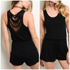 "BESTSELLER! Black crochet back romper Summer chic and comfy black romper. Crochet upper back. Gathered waist, super flattering. 95% rayon 5% Lycra. 30"" long.     Small: bust 32"". Medium: bust 34"". Large: bust 36"".                 ❌NO HOLDS/TRADES/PAYPAL❌. ❤️DISCOUNTS ON BUNDLES APPLY❤️ CupofTea Pants Jumpsuits & Rompers"