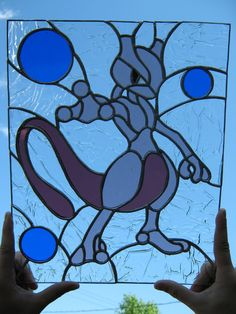 pokemon stained glass patterns | Stained glass Mewtwo by cram6