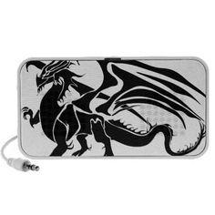 Black Dragon Silhouette Portable Speakers