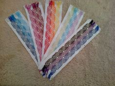 Bookmarks, done in Swedish/huck weaving on Aida cloth. Geomatric waves pattern. For sale on Etsy.