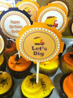 Let's Dig Construction Themed Birthday Party Dump Truck Cupcake Toppers