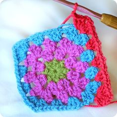 """Tutorial for granny square. Best pictures and very clear instructions. Links to """"how to join as you go"""" also."""
