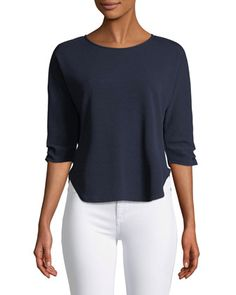 3/4-Ruched-Sleeve Tee by Casual Couture at Neiman Marcus Last Call.