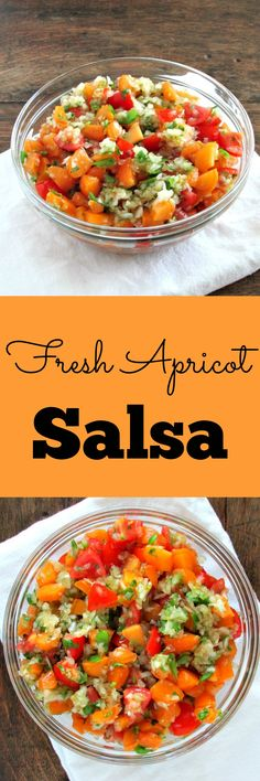 Fresh Apricot Salsa - Basically your typical Pico de Gallo with Apricots, honey and cayenne pepper added. Sweet, spicy, smoky, and delicious! Fruit Recipes, Mexican Food Recipes, Appetizer Recipes, Cooking Recipes, Ethnic Recipes, Appetizers, Raspberry Recipes, Dip Recipes, Recipies