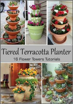 Terracotta Planter Tutorials - Clay Pot CraftsTiered Terracotta Planter Tutorials - Clay Pot Crafts Here's a Great Solution Recommend by Beauty Experts for Firmer, Younger Looking Skin. Clay Pot Flower Tower Is An Easy DIY You'll Love Stacked Flower Pots, Clay Flower Pots, Flower Pot Crafts, Painted Flower Pots, Clay Pot Crafts, Painted Pebbles, Stacked Pots, Flower Pot Art, Flower Pot Design