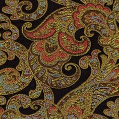 Grand Paisley Onyx Jacquard Paisley Upholstery Fabric