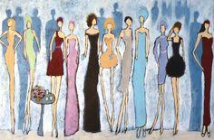 120 x 80 cm - Auftragsarbeit in Acryl, Party-Szene, Malerei auf Leinwand #painting #bild #malerei #kunst #art