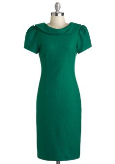 Matinee Maven Dress - Green, Solid, Bows, Sheath / Shift, Short Sleeves, Winter, Long, Holiday Party, Work, Vintage Inspired, 40s