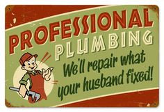 Professional Plumbing Vintage Metal Sign