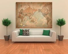 Wall Art Canvas Picture Print -Antique Old Vintage World Map 3.2 #GalleryAvenue #Modernism