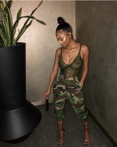 Camouflage pants and a nice bodysuit Swag Outfits, Dope Outfits, Stylish Outfits, Girl Outfits, Fashion Outfits, Casual Going Out Outfits, Formal Outfits For Women, Clothes For Women, Black Girl Fashion