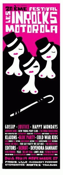 Original silkscreen concert poster for Le 20 Eme Festival Les Inrocks in Paris, France 2007.