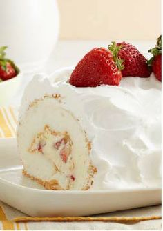 Heavenly Strawberry Roll – Strawberry angel food cake roll-up recipe covered in COOL WHIP.