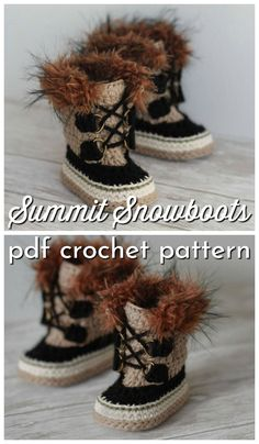 Super adorable Sorel-style furry crochet Summit Snow boot pattern for baby! These look just like Sorels! What a fun pattern and they look super warm! crafts snow boots Bundle of Baby Booties Baby Converse, Booties Crochet, Crochet Slippers, Baby Booties Free Pattern, Crochet Baby Boots Pattern, Baby In Snow, Crochet For Boys, Newborn Crochet, Snow Boots