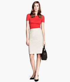 6162cb8c74b7 Product Detail | H&M SI Grey Pencil Skirt, Office Looks, H&m Fashion