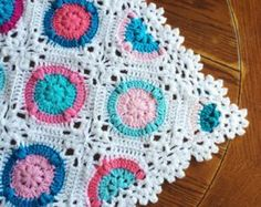 Pattern - BabyLove Brand Candy Puffs Blanket - Crochet Pattern/Tutorial - Square motifs worked on the diagonal throw