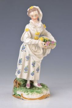 Porcelain Figurine, Frankenthal, 1765, Lady With Flower