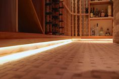 Wine cellar toe kick lighting- View from the ground #led