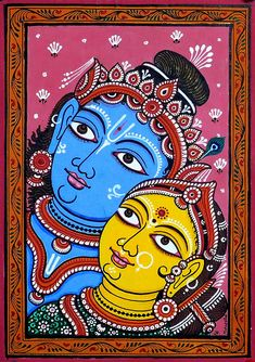 Radha Krishna (Orissa Pattachitra Painting on Patti - Unframed) Pichwai Paintings, Indian Art Paintings, Abstract Paintings, Landscape Paintings, Kalamkari Painting, Madhubani Painting, Kerala Mural Painting, Painting On Hand, Watercolor Painting