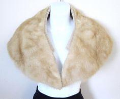 Genuine Fur Collar Blonde Mink Vintage Wrap 28 Inches Long Wide Lapel Accessory found at FrankandGladys on Bonanza.com