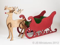 Rudolph and Santa's Sleigh are Christmas decorations just perfect as a table decoration or on your mantle shelf. Painted in red and green Christmas colours they are perfect for holding chocolates, sweets or anything else mini you fancy. Christmas Yard Art, Rudolph Christmas, Christmas Yard Decorations, Wooden Christmas Ornaments, Christmas Makes, Christmas Wood, Outdoor Christmas, Christmas Colors, Christmas Projects