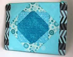 Quilt Block Makeup Bag, Aqua Blue and Black Large Cosmetic Bag, Purse Organizer, Purse Accessory, Flat Zippered Pouch, Gift for Her by MountainAirBoutique on Etsy
