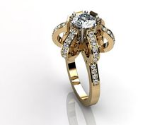 14k yellow gold diamond unique floral engagement ring, bridal ring, wedding ring by Jewelice, $1569.00