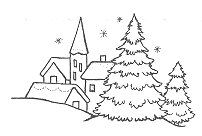 Christmas Village Rubber Stamp