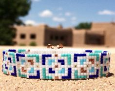 Metallic Tweed Twist Bead Loom Bracelet Bohemian by PuebloAndCo