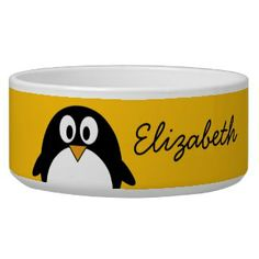 Cute and Modern Cartoon Penguin Dog Water Bowl