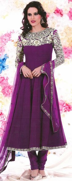 $98.88 Purple Embroidery Faux Georgette Anarkali Salwar Kameez 26012