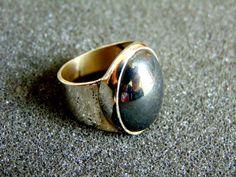 Beautiful sterling silver and haematite statement ring-Silver 925 statement ring-Haematite silver ring-Artisan jewelry-Greek art by ArchipelagosBreeze on Etsy