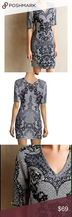 ANTHROPOLOGIE YOANA BARASCHI LACE PRINT DRESS Sold-out Anthro BARASCHI dress! Beautiful blue-grey sketched lace print. The fit of this dress is amazing. It gives a fantastic shape without being too clingy or body-con. In like-new condition. Anthropologie Dresses