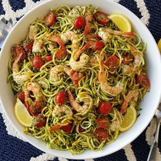 Fresh Pesto with Shrimp & Zoodles Made by @cleanfoodcrush .. Follow her @cleanfoodcrush {This takes 15 minutes to throw together and it's equally great for busy weeknights or served at the weekend BBQ's} Serves 6-8 Fresh Pesto Ingredients: 2 cups fresh basil (loosely packed) 2 cloves garlic 1/3 cup fresh grated parmesan cheese Sea salt and pepper to taste 4 Tbsps avocado oil or extra virgin olive oil For the zoodles: 6 small/medium zucchinis or yellow squash spiralized 24 oz. cooked and…
