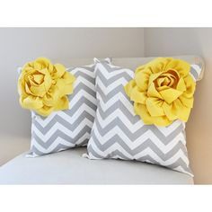 July Decorative Throw Pillows Yellow Flower Gray Pillow Throw Pillow... ($64) ❤ liked on Polyvore featuring home, home decor, throw pillows, decorative pillows, home & living, home décor, silver, grey chevron throw pillow, gray home decor and flower stem