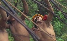 Men of the Awa Cuajar tribe in the Amazon Basin, Brazil on a hunting trip into the forest near their camp. Longer hunting trips can last months but most of the food is caught day-to-day.
