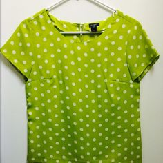 JCrew Polka Dot Blouse Super trendy polka dot blouse from JCrew, perfect and bright for Spring! Color: lime green with white polka dots, size: XXS, EXCELLENT condition J. Crew Tops Blouses