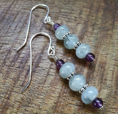 Aquamarine Amethyst and Silver Rondelles by AdeniumJewelry