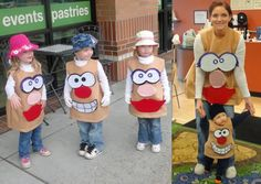 DIY Potato head family costumes. Disfraz MR Potato se puede hacer con bolsa marrón | http://www.multipapel.com/familia-material-para-disfraces-maquillaje-bolsas-de-color.htm