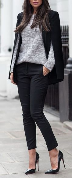 #winter #outfits / Black Blazer - Grey Long Sleeve