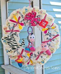 Cute diaper wreath idea!