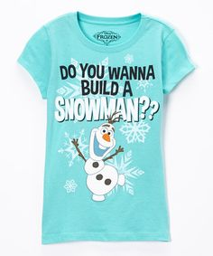 http://www.zulily.com/invite/vhanson979 Look what I found on #zulily! Teal Frozen 'Build' Olaf Tee - Girls #zulilyfinds