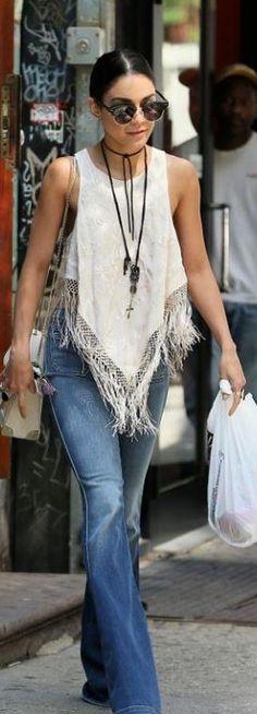 Vanessa Hudgens: Sunglasses – Ray Ban  Jeans – J Brand  Shirt – Free People  Purse – Orka Mesica