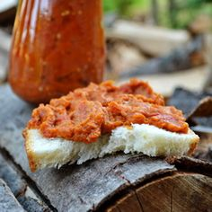 Traditional roasted eggplant and red pepper spread . Romanian name Zacusca . . .