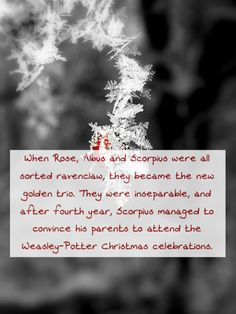 When Rose, Albus and Scorpius were all sorted ravenclaw, they became the new golden trio. They were inseparable, and after fourth year, Scorpius managed to convince his parents to attend the Weasley-Potter Christmas celebrations. Requested by...