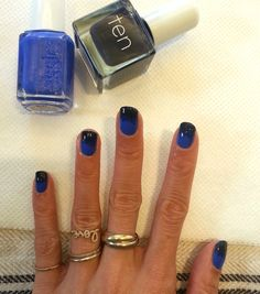 another day, another manicure: blue-to-black nails using Essie in Butler Please and Tenoverten in Commerce. rings—because I know you'll all ask!—by (left to right) Catbird, Helen Ficalora (plain band), Sydney Evan (teeny pave and Love), and Cartier.