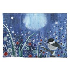 Field of Frost Winter Time Cloth Placemat Nature Collection, Winter Landscape, Winter Time, Pillow Cases, Art Pieces, Tapestry, Bird, Frost, Pillows